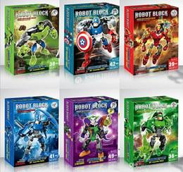 Modelos de batman online-Superhéroes The Avengers Batman Iron Man Hulk Thor Capitán América Conjunto movible Ladrillos de PVC Figura modelo Juguetes Montaje de bloques de construcción