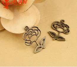 Wholesale Pendant For Beading - 25*18MM Antique Bronze tibetan flower charms for bracelet, vintage metal pendants for necklace, handmade jewelry making beading accessories