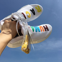 Wholesale Colorful Runners - NMD Pharrell Williams Human Race 'Birthday' mens Colorful Boost womens NMD Runner Running Shoes White Sample Ultra Boots with Box and Laces