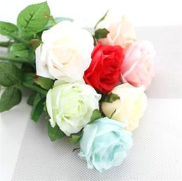 Wholesale Single Stem Roses - 10pcs lot Multi Color 45cm Height Single Stem Roses W Leaves For Wedding And Valentine's Day Decorative Flowers Free Shipping