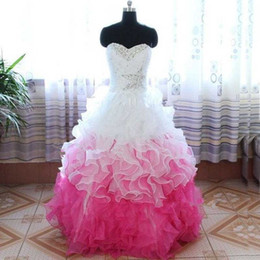 Wholesale Prom Drsses - Stunning Sweet 16 Dress Custom Made Two Colors Quinceanera Drsses Sweetheart Sleeveless Crystals White and Hot Pink Ruffles Prom Party Gowns