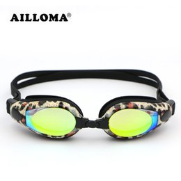 Wholesale Electroplated Goggles - AILLOMA Women Professional Electroplated Diopter Swim Goggles Leopard Waterproof Anti-fog UV 400 Water Sports Swimming Glasses