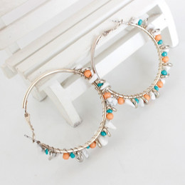 Wholesale Colorful Circle Earrings - New Fashion Colorful Beads And Stone Hoop Earrings Women Bohemian Designs Circle Earrings Party Dress Gifts GR
