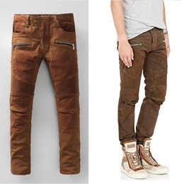 Wholesale Regular Bp - Wholesale-NWT BP Men's Fashion Runway Ribbed Biker Slim Stratch Washed Brown Jeans Size 28-38 (#948),Free Shipping