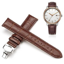 Wholesale Watch Straps For Sale - 14 16 18 20 22mm Hot Sale Genuine Leather Watchband Black Brown Watch Accessories For Men watchband For men women watch strap