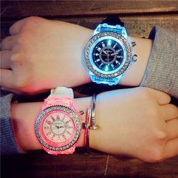 Wholesale Geneva Diamond Watches Men - Luxury Luminous Diamond Geneva Watch Silicone strap Rhinestone Watches Unisex Back Night Light Watches For Men Women christmas gifts