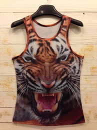 Wholesale White Gray Tiger Cats - Wholesale- 2014 New fashion Women Men leopard Animal 3D Vest Sleeveless t shirts Egyptians head tiger cat wolf t-shirt Tops Tees s-XXL