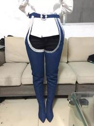 jeans di lycra per le donne Sconti 2017 Nuovi pantaloni stile stivali Sexy stivali di jeans blu ultra tacchi alti Scarpe donna stivali alti al ginocchio punta a punta stivali alti alla coscia