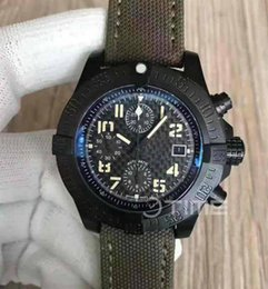 Wholesale Product Carbon - Mens Products 45mm Military Limited Edition Black PVD Case Best Edition Black Carbon Fiber Dial On Green Nylon Strap ETA 7750 Wristwatches