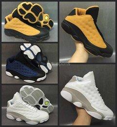 Wholesale Eva Balls - 2017 New Air Retro 13 Low Men Basketball Shoes Chutney Wheat white cats blue Mens Sneakers Retros 13s Basket ball Sneakers 8-13