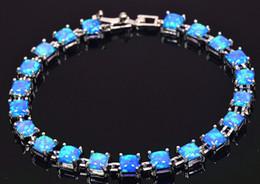 Wholesale sterling silver blue opal - Wholesale & Retail Fashion 7.0 Inches Fine Blue Fire Opal Bracelet 925 Sterling Sliver Jewelry For Women _DSC319