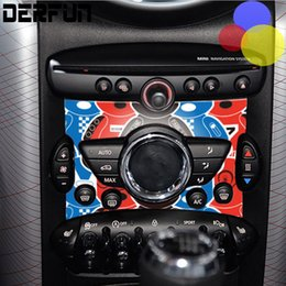 Wholesale Stickers For Controls - 4 types Car Internal Decoration Mini Cooper Control Panel Sticker For Mini Cooper Countryman Cabrio Works Coupe Paceman One Clubman