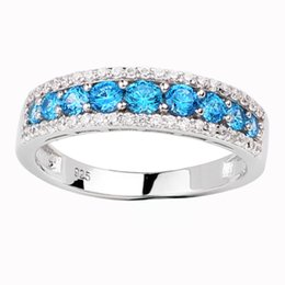 Wholesale 925 Blue Topaz - Women 925 Sterling Silver Promise Ring Simulated Blue Topaz Size 6 to 9 Luxury December Birthday Gift R163BT