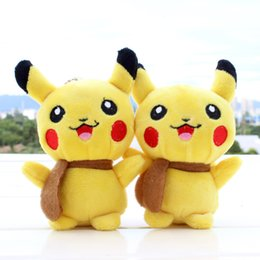 Wholesale Pokemon Plush Keychain - Hot Poke plush toy Pikachu Plush Keychain Pendant Phone Strap soft Stuffed Dolls 13cm free shipping in stock
