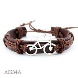 Wholesale Antiques For Men - ANTIQUE Rose Gold SILVER Bicycle Bike Charm Adjustable Leather Cuff Bracelets for Men & Women Punk Friendship Jewelry Gift