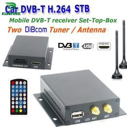12 ~ 24V Car DVB-T TV Box Diversity 2 Antenna MPEG2 MPEG4 H.264 STB Funzione di ricerca automatica della rete KF-V8004 cheap dvb t box da dvb t box fornitori