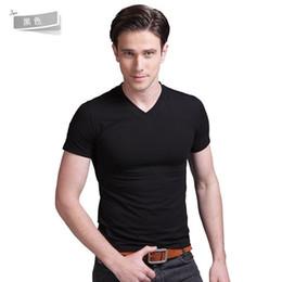 Wholesale Wholesale Slim Fit T Shirt - Wholesale- Men Plain Slim Fit Crew Neck V-Neck Short Sleeve Muscle Tee T Shirts three sizes
