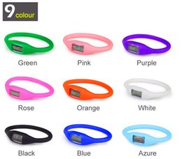 Wholesale 14 battery - Wholesale 14 Color Unisex Sports Wrist Digital Bracelet Fashion Silicon Rubber Jelly Ion Watch Healthy Digital Casual Led Wristwatches
