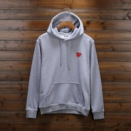 Wholesale Red Hooded Sweater Women - 2018 tide brand play hoodie Sweatshirt Loose Red Heart Embroidery Character Hooded hip hop men women hooded sweater ape sweatershirt
