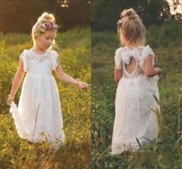 Wholesale Wedding Dress Open Back Bow - 2018 New Vintage Lace Bohemian Flower Girl Dresses Sheer Jewel Neck Ruffles Sleeveless Open Back Girls Formal Dress for Wedding with Bow