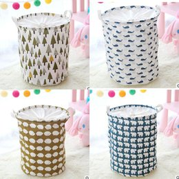 Wholesale Storage Baskets Cotton - INS Waterproof Canvas Beam Laundry Basket Tree Bear Hedgehog Pattern Cotton Linen Washing Clothes Storage Basket Folding Storage Box