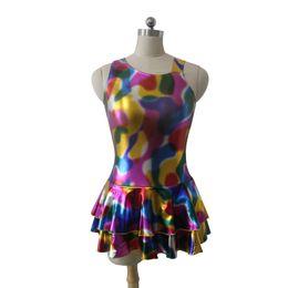 Wholesale Costume Straps - Latin Dance Dress River Blue Metallic Oblique Shoulders Wide Strap Tank Leotard Skirt Ladies Modern Jazz Costume