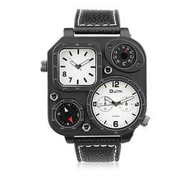 Wholesale Oulm Double - Fashion Dual movement Double Time Zone Compass Mens Watches Quartz-Watch Oulm Leather Sport Quartz Wrist Watch Clock Relogio WHQL005-3