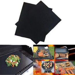 Wholesale Bbq Grill Gloves - 44X33CM Non Stick PTFE BBQ Liners Oven Liner Grill Foil Barbecue Reusable Teflon Cooking Sheet Free shipping
