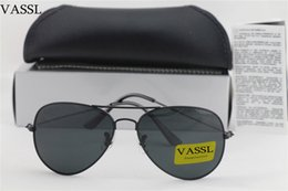 Wholesale Large Framed Mirrors Wholesale - 20pcs Vassl High quality Classic Pilot Sunglasses Designer Large Metal Sun Glasses For Men Women Black 62mm Glass Lenses For Box Case