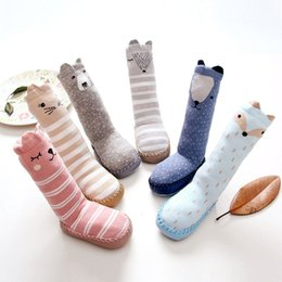 Wholesale Toddler Girl Knee Socks - 2017 New baby boys girl Newborn cotton Cartoon Socks Baby Booties Childrens Room Socks non-slip stocking Toddler Knit Knee High Socks A214