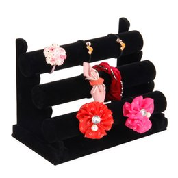 Wholesale Black Velvet Bracelet Holder - Black Velvet Three Layer Bangle Bracelet Display Stand Jewelry Display Watch Holder Gift Detachable Stand Showcase Display