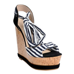 2019 slingback nero cuneo Zandina Fashion Handmade Knot Slingback Wedge Tacco alto Sandali Platform Court Shoes Nero XD205 slingback nero cuneo economici