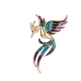 Wholesale Phoenix Clothes - Vintage Phoenix Animal Bird Brooches Pins for Women Wedding Accessory Brosche Unique Lady Party Clothing Ethnic Jewelry