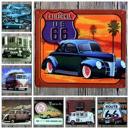 Wholesale Travel Iron Wholesale - Car Minibus 18X21CM Iron Paintings California Us 66 Metal Tin Sign Travel Refreshed Cerveza Estilo Pilsen Tin Poster Trumpet 4rjP