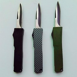 Wholesale mini microtech Key buckle knife aluminum T6 green black carton fiber plate double action Folding knife xmas gift knife