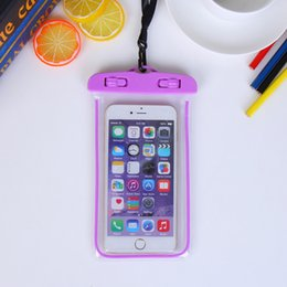 Wholesale Iphone Glow Cover - Universal Glow in dark Waterproof Coque Case For iPhone6 6plus For Samsung Galaxy J5 S5 Case Cover Swim Waterproof Phone Pouch Fluorescent