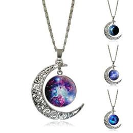 colliers pour copines Promotion lune étoilé ciel coloré verre pendentif collier alliage argent bijoux mode femmes cadeau de fête pour les copines drop livraison gratuite