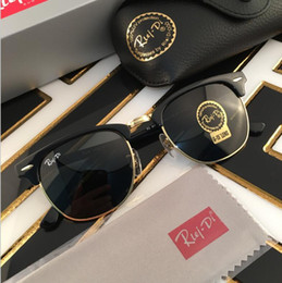 Wholesale Metal Half Frame Sunglasses - New Arrive Brand Designer Sunglasses High Quality Metal Hinge Sunglasses Men Glasses Women Sun glasses UV400 51mm Unisex With accessory fre