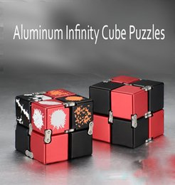 Wholesale Magic Gags - Hybrid Aluminum Alloy Infinity Cube Puzzles Decompression Toys Infinite Cubic American Fashion Anxiety Metal Pocket Magic Gag Toys