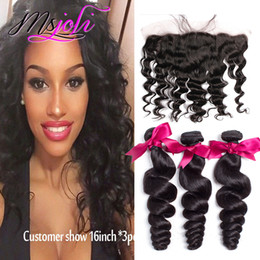 Wholesale 24 Human Hair - Human Hair Weft With Frontal 7A Brazilian Unprocessed Virgin Hair Loose Wave 13X4 Ear to Ear Lace Closure With 3 Hair Bundles DHL