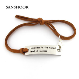 Wholesale Wholesale Leather Straps For Bracelets - Wholesale Women Inspirational Engraved Letter Jewelry Bracelets with Adjustable 3 color Leather Strap for Friends and Relatives 30pcs lot