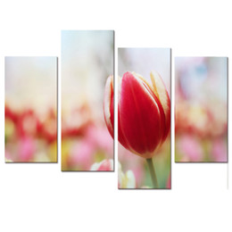 Wholesale Tulip Paintings Wall - Tulip Photo Canvas Prints Beautiful Pink Flower Canvas Printing Artwork Home Wall Decoration