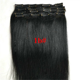 Wholesale Cheap Virgin Hair Clips - cheap 8A virgin Indian straight clip in human hair extensions remy human hair clip on weave color 1b black