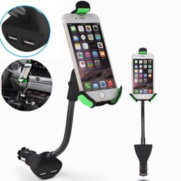 Wholesale Car Charger Holder Wholesale - HC84K Car Phone Holder with Dual USB Charger Mount Stand for Iphone 7 6 6 plus Samsung Galaxy S8 plus With Opp Bag