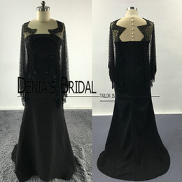 Wholesale Cape Winter Wraps - 2017 Prom Dresses Black Sheath Sheer Crew Tulle Neckline Waved Beaded Cape Floor Length Sweep Train Evening Gowns