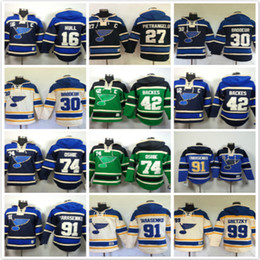 42 hockey en Ligne-Sweats à capuche St. Louis Blues 16 Brett Hull 27 Alex Pietrangelo 30 martin brodeur # 42 david backes 74 91 99 Sweats à capuche de hockey sur glace sweats