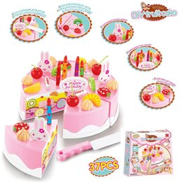Wholesale Pretend Birthday Cake - Wholesale- 37pcs DIY Cookware Set Fruit Birthday Cake Children Pretend Play Toys Kitchen Kids Educational Assembling Toys