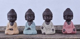 Wholesale small buddhas - Small Buddha Statue Monk Figurine India Mandala Tea Ceramic Crafts Home Decorative Ornaments Miniatures