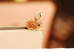 Wholesale Dachshund Cell Phone Dust Plug - Cute Rabbit With Diamond Dustproof Plug Caps Cell Phone Accessories3.5mm Earphone Dust Plug Dachshund For ipphone6 6P For Samsung