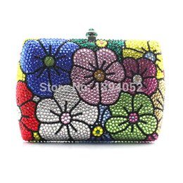 Wholesale Handmade Purse Crystal - Wholesale- Full diamond handmade flowery evening crystal rhinestone clutch purses